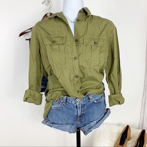 J.Crew Olive Side Button Cotton Popover Shirt